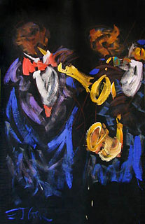 Two Jazzmen by E.J. Gold has appeared in over 50 venues