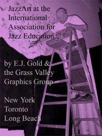 graphic of E.J. Gold on ladder painting for IAJE exhibits