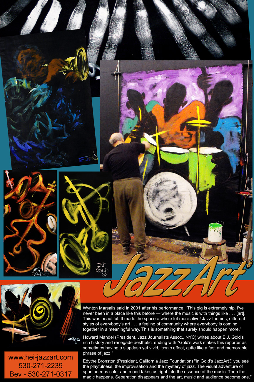 JazzArt Collage, About Us with quotes from Wynton Marsalis, Edythe Bronston and Howard Mandel