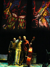 Photo of JazzArt installation at Lionel Loueke concert at Mondavi Center for the Performing Arts