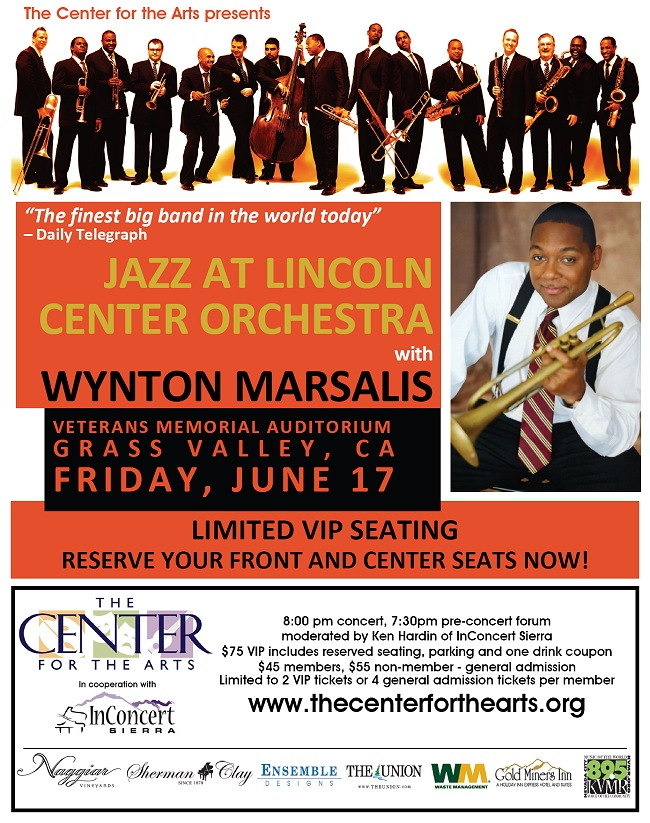 poster for Wynton Marsalis concert with Jazz at Lincoln Center Orchestra